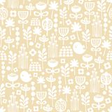 Cute seamless pattern of cartoon birds and flora. Royalty Free Stock Image