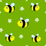 Cute seamless pattern with cartoon bumble bees. Vector. Cute seamless pattern with cartoon bumble bees and white flowers on green background. Vector stock illustration