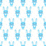 Cute seamless pattern with cartoon bunny. Cartoon baby animals. Funny background for little boys and girls Stock Photography
