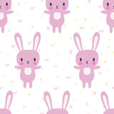 Cute seamless pattern with cartoon bunny. Cartoon baby animals. Funny background for little girls and boys Royalty Free Stock Images