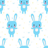 Cute seamless pattern with cartoon bunny. Funny background for little boys and girls. Cartoon baby animals Royalty Free Stock Photography