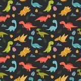Cute seamless pattern with cartoon colorful dinosaurs vector illustration