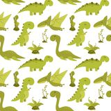 Cute seamless pattern with cartoon dinosaurs. Illustration of Cute seamless pattern with cartoon dinosaurs Royalty Free Stock Photo
