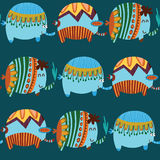 Cute seamless pattern. Cartoon funny childish elephants. Cute seamless pattern for nice backgrounds Stock Photo