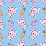 Cute seamless pattern with cartoon funny rabbits. Childish background. Vector kawaii illustration. vector illustration