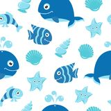 Cute seamless pattern with cartoon sea animals. The pattern can be repeated without any visible seams Royalty Free Stock Photos
