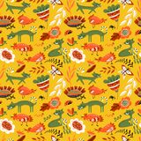 Cute seamless pattern with cat and chiken. Floral summer backgro. Und with farm animals and insects. Vector illustration with abstract flowers in decorative royalty free illustration