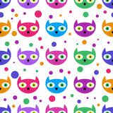 Cute seamless pattern with cat faces Stock Image