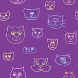 Cute seamless pattern with cat faces Royalty Free Stock Photography