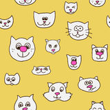 Cute seamless pattern with cat faces Stock Photos