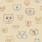 Cute seamless pattern with cat faces Royalty Free Stock Photo