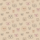 Cute seamless pattern with cat faces Stock Photo