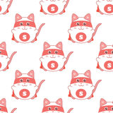 Cute seamless pattern with cat superman Royalty Free Stock Images