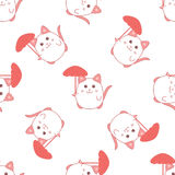 Cute seamless pattern with cat and umbrella Stock Photo