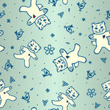 Cute seamless pattern with cats and flowers and bi Stock Images