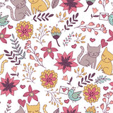 Cute seamless pattern with cats Stock Photos