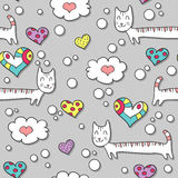 Seamless pattern with cats and hearts Stock Photography