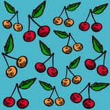 Cute seamless pattern with cherries,  Stock Images