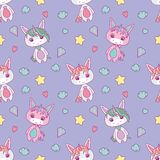 Cute seamless pattern for children with chubby white cartoon unicorns, stars, hearts, diamonds and clouds on light violet backgrou stock illustration