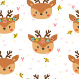 Cute seamless pattern for children with funny deer. Smile characters Stock Photo