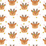 Cute seamless pattern for children with funny deers. Smile characters. Vector illustration Stock Photography