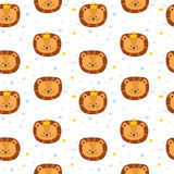 Cute seamless pattern for children with funny lions. Smile characters Stock Photo