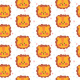Cute seamless pattern for children with lions. Smile characters Stock Photography