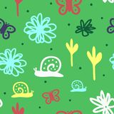 Cute seamless pattern for children. Repeated snails, flowers, butterflies and round dots. Drawn by hand. stock illustration