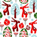 Cute seamless  pattern with christmas balls, reind Royalty Free Stock Photography