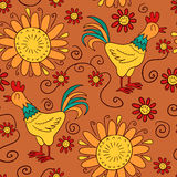 Seamless pattern with cocks and flowers Royalty Free Stock Images