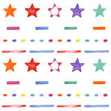 Cute seamless pattern with colored stars. Happy Birthday design Royalty Free Stock Images