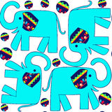 Cute seamless pattern with colorful blue elephants and seamless Stock Photo