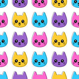 Cute seamless pattern with colorful cat faces Stock Image