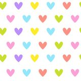 Cute Seamless Pattern With Colorful Heart Shapes Ornament On White Background. Vector Illustration Royalty Free Stock Images