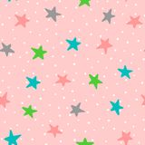 Cute seamless pattern with colorful stars and polka dots. Drawn by hand. Endless vector illustration for children. Pink, white, green, blue, dark gray Stock Image