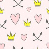Cute seamless pattern with crowns, hearts, crossed arrows and round dots. Endless girlish print. Girly vector illustration. Pink, white, yellow, black stock illustration