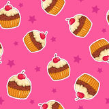 Cute seamless pattern with cupcakes Royalty Free Stock Photography