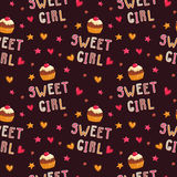 Cute seamless pattern with cupcakes Royalty Free Stock Images