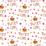 Cute seamless pattern with cupcakes Royalty Free Stock Photos