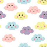 Cute seamless pattern with cute clouds. Design for kids. Vector illustration. Royalty Free Stock Images