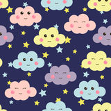 Cute seamless pattern with cute clouds and stars. Design for kids. Vector illustration. Royalty Free Stock Photos