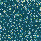 Cute seamless pattern with cyan leaves. Can be used as a background, wallpapers or any other design Royalty Free Stock Photo