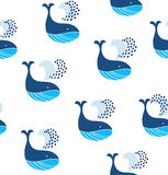 Cute seamless pattern with decorative whales. Vector decorative marine background. Stock Image