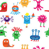 Cute seamless pattern with different cheerful monsters Royalty Free Stock Images