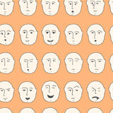Cute seamless pattern with different facial expressions made in Royalty Free Stock Images