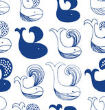 Cute seamless pattern with different whales silhouettes. Royalty Free Stock Photos