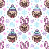 Cute seamless pattern with dog breed pug in hat and dog in a rabbit costume. Stock Images