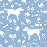 Cute seamless pattern with dog silhouette, bowl, traces, bone, b stock illustration