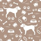 Cute seamless pattern with dog silhouette, bowl, traces, bone, b vector illustration
