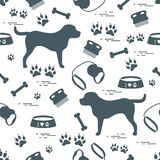 Cute seamless pattern with dog silhouette, bowl, traces, bone, b. Rush, collar, leash. Design for poster or print vector illustration